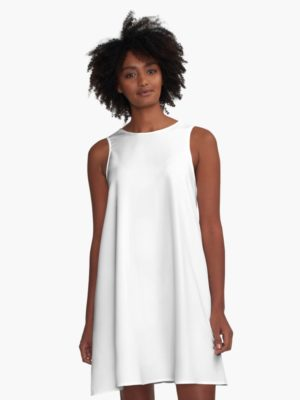 Solid Bright White A-Line Dress