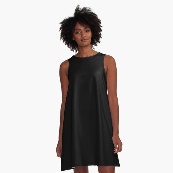 Solid Jet Black A-Line Dress